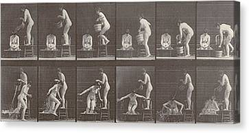 Two Women Bathing Canvas Print by Eadweard Muybridge