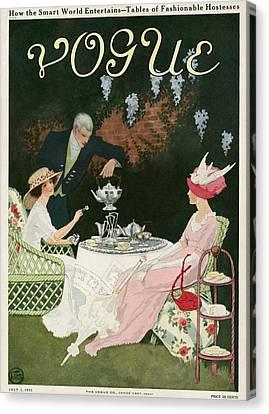 Back Yard Canvas Print - Two Women Drinking Tea by Mrs. Newell Tilton