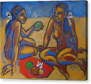 Female Canvas Print - Two Women On The Beach - Female Nude by Carmen Tyrrell