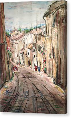 Canvas Print featuring the painting Two Women On The Street by Becky Kim