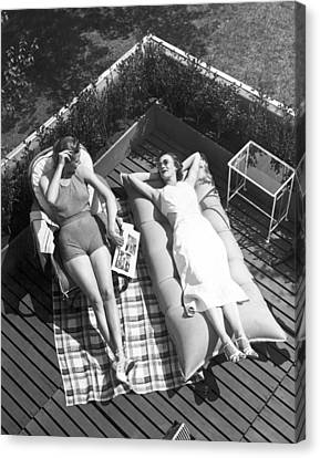 Inflatable Canvas Print - Two Women Sunbathing by Underwood Archives