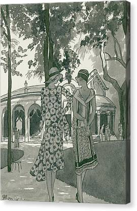 Park Scene Canvas Print - Two Women Walking In A Park by Pierre Mourgue
