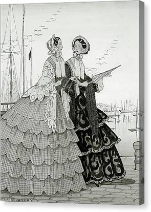 Two Women Wearing Large Dresses With Hoop Skirts Canvas Print