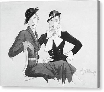 Two Women Wearing Shepherdess Hats And Sitting Canvas Print by Douglas Pollard