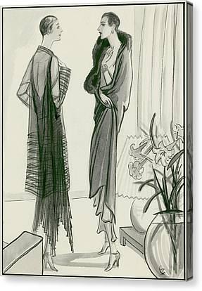 Two Women Wearing Wraps Canvas Print by Porter Woodruff