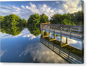 Two Worlds At Wakodahatchee Canvas Print by Debra and Dave Vanderlaan
