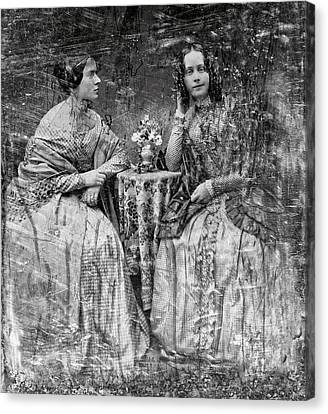 Two Young Antebellum Ladies Almost Lost To Time Canvas Print by Daniel Hagerman