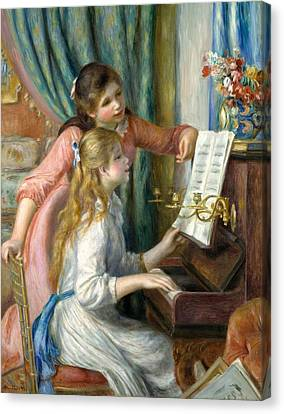 Two Young Girls At The Piano Canvas Print by Pierre-Auguste Renoir