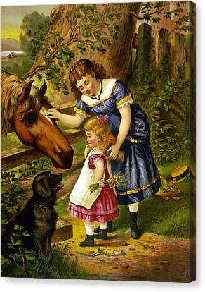 Two Young Girls Canvas Print by Unknown