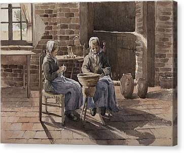 Two Young Women Peeling Potatoes  Canvas Print