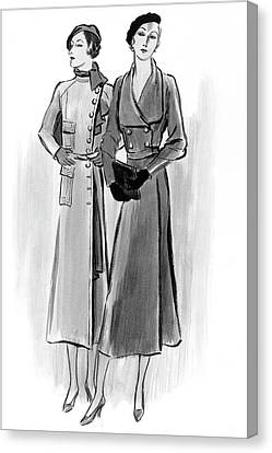 Two Young Women Wearing Lyolene And Mainbocheri Canvas Print by Creelman