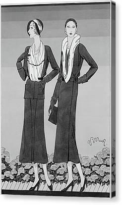 Two Young Women Wearing Schiaparelli Coats Canvas Print by Douglas Pollard