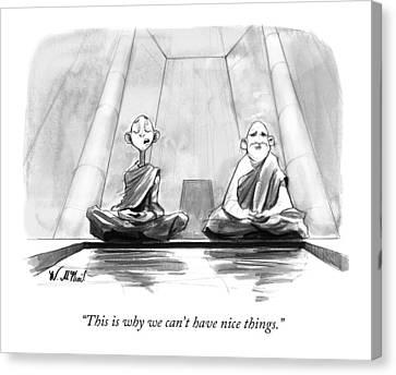 Two Zen Buddhist Monks Meditate Canvas Print