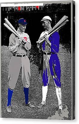 Ty Cobb And Shoeless Joe Jackson Cleveland 1913-2014 Canvas Print by David Lee Guss