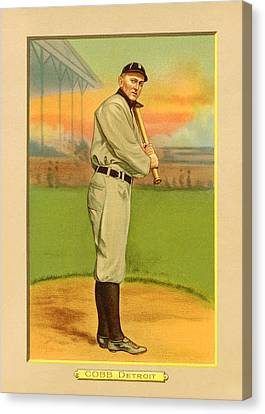 Ty Cobb Baseball Card Portrait Canvas Print by Gary Bodnar