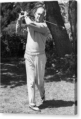 Ty Cobb Canvas Print - Ty Cobb Golfing At Home by Underwood Archives