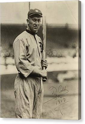 Detroit Tigers Canvas Print - Ty Cobb  Poster by Gianfranco Weiss