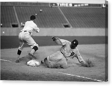 Ty Cobb Canvas Print - Ty Cobb Sliding by Gianfranco Weiss