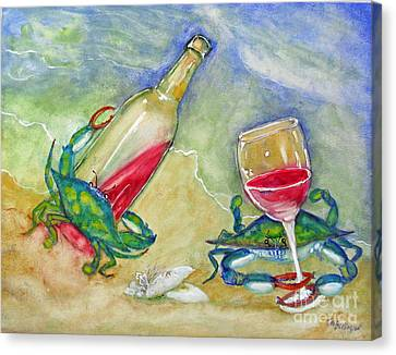 Tybee Blue Crabs Tipsy Canvas Print by Doris Blessington