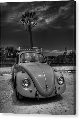 Vw Beetle Canvas Print - Tybee Island Beach Bug 002 Bw by Lance Vaughn