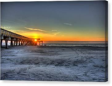 Tybee Island Pier Sunrise Watchers Canvas Print by Reid Callaway