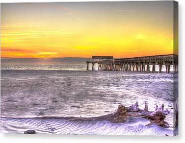Tybee Island Pier Winter Sunrise Canvas Print by Reid Callaway