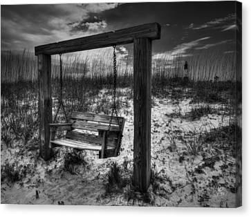 Tybee Island Swing 003 Bw Canvas Print by Lance Vaughn