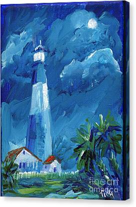 Canvas Print featuring the painting Tybee Lighthouse Night Mini by Doris Blessington