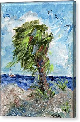 Canvas Print featuring the painting Tybee Palm Mini Series 1 by Doris Blessington