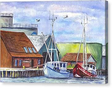 Tyboron Harbour In Denmark Canvas Print by Carol Wisniewski