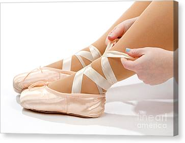 Tying Ballet Slippers Canvas Print