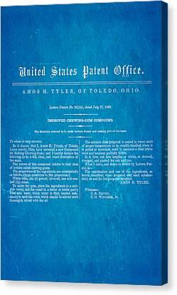 Tyler Ohio Chewing Gum Patent Art 1869 Blueprint Canvas Print by Ian Monk