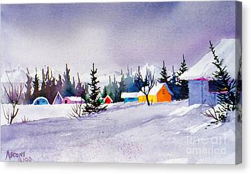 Canvas Print featuring the painting Tyonek Village Impression by Teresa Ascone