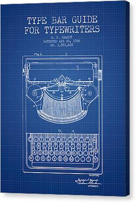 Type Bar Guide For Typewriters Patent From 1926 - Blueprint Canvas Print by Aged Pixel