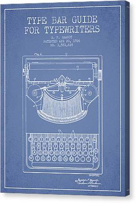 Type Bar Guide For Typewriters Patent From 1926 - Light Blue Canvas Print by Aged Pixel