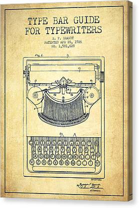 Type Bar Guide For Typewriters Patent From 1926 - Vintage Canvas Print by Aged Pixel
