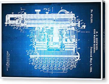 Typewriter Keys Canvas Print - Type Writing Machine Patent Blueprint Drawing by Tony Rubino