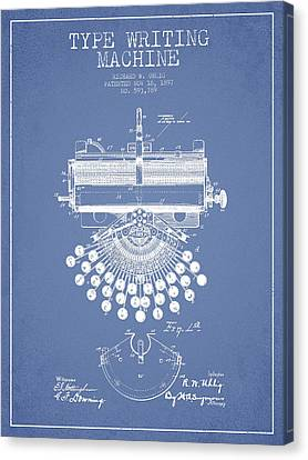 Type Writing Machine Patent Drawing From 1897 - Light Blue Canvas Print by Aged Pixel