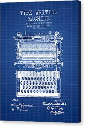 Type Writing Machine Patent From 1896 - Blueprint Canvas Print by Aged Pixel