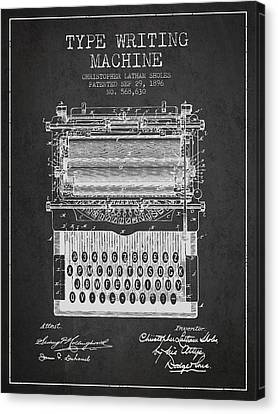 Type Writing Machine Patent From 1896 - Charcoal Canvas Print by Aged Pixel