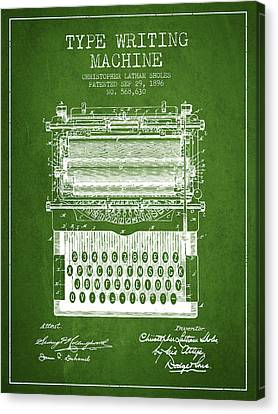 Type Writing Machine Patent From 1896 - Green Canvas Print by Aged Pixel