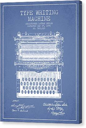 Type Writing Machine Patent From 1896 - Light Blue Canvas Print by Aged Pixel