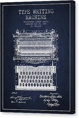 Type Writing Machine Patent From 1896 - Navy Blue Canvas Print by Aged Pixel