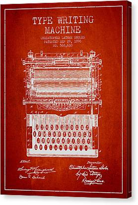 Type Writing Machine Patent From 1896 - Red Canvas Print by Aged Pixel