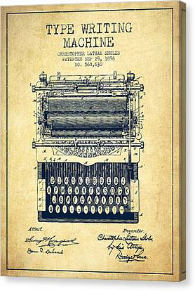 Type Writing Machine Patent From 1896 - Vintage Canvas Print by Aged Pixel