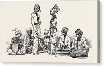Types Of The Javanese Musicians And Dancers Engraving 1876 Canvas Print