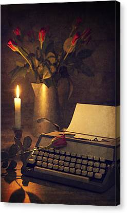 Typewriter And Roses Canvas Print by Amanda Elwell