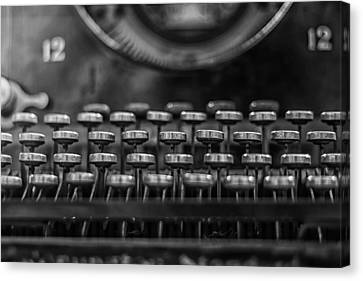 Typewriter Keys In Black And White Canvas Print by Georgia Fowler