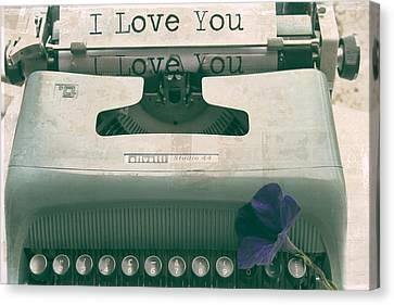 Typewriter Love Canvas Print by Georgia Fowler