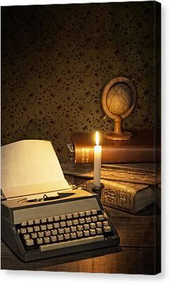 Typewriter With Globe Canvas Print by Amanda Elwell